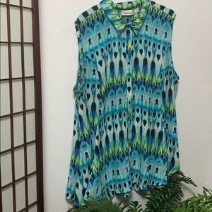 AVENUE SLEEVELESS FLORAL FIT & FLARE BLOUSE 30/32